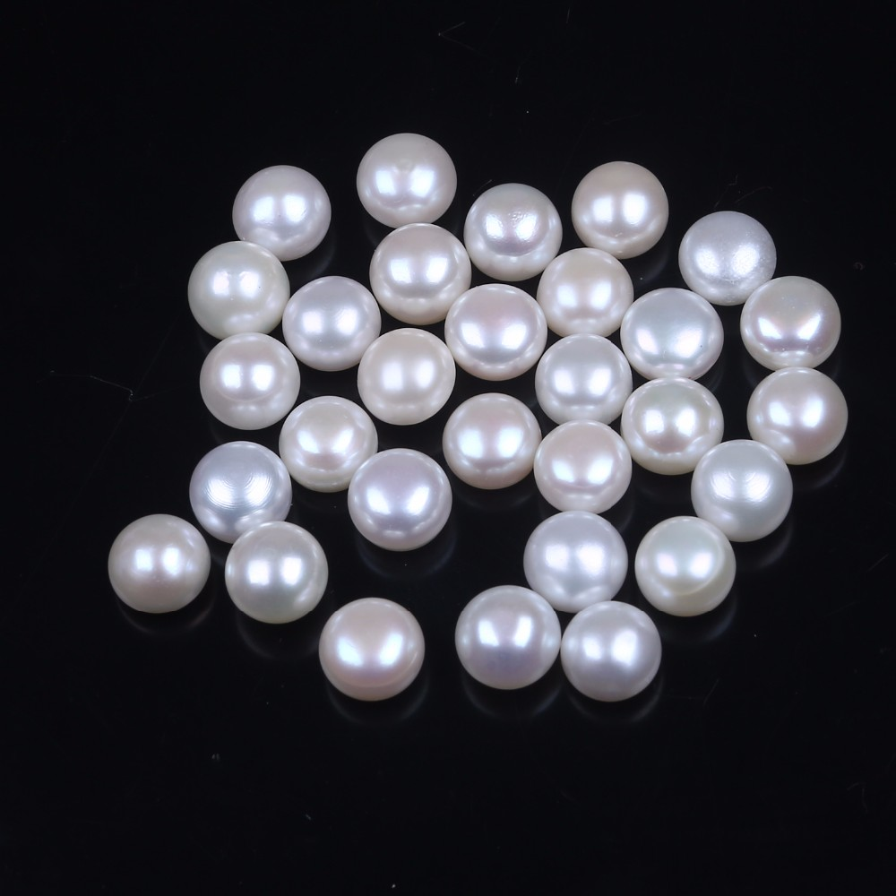 9-9.5mm genuine real half drilled freshwater button shape pearl