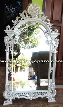 White Painted Mirror Furniture - Hand Carved wooden Frame