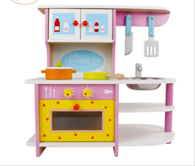 Wooden children's cooking simulation kitchen Gas range set Baby play toys Children educational toy