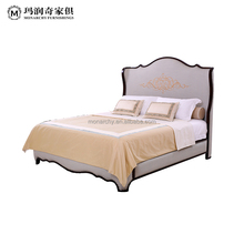 Simple design wooden bed double room furniture carved solid wood king beds BQ801D-161718