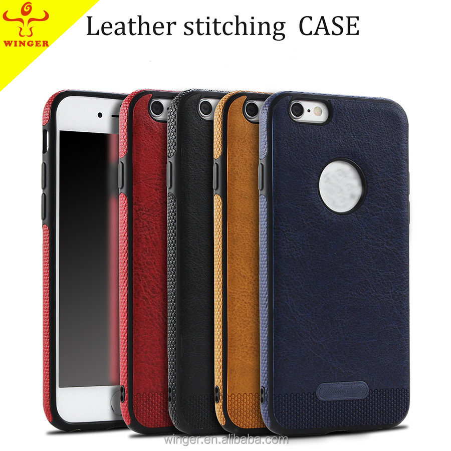 2017 Hot sale Leathering Stitching case wholesale PU leather universal cell phone pack colorful phone case for iphone 7