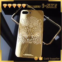 2017 China newest aluminum materail custom design luxury mirror gold plating for iphone 7 case