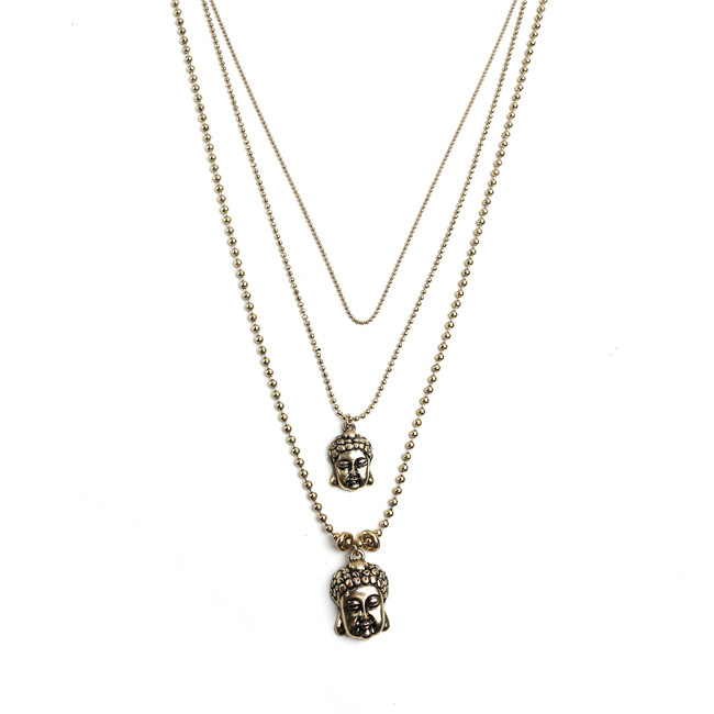 coherer three layered buddha necklace gold chains