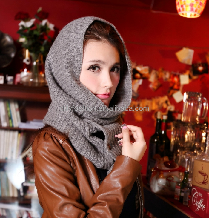 Buttons design knitted merino wool snood ladies 2017