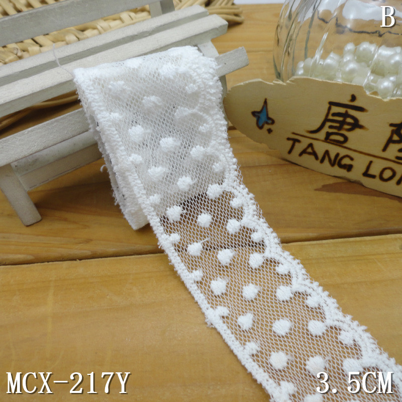"3.5cm/1.4"" cotton dots embroidered mesh tulle bridal trimming lace"
