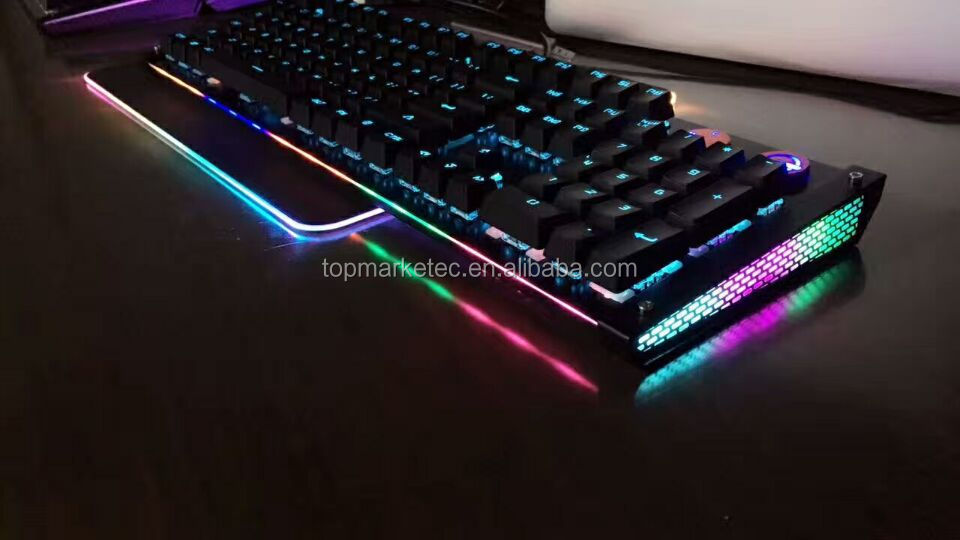 104Keys RGB Backlight Gaming Mechanical Keyboard Laser keyboard with one button start