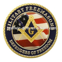 Soft Enamel Casting Custom Metal Masonic Challenge Coins with Sticker