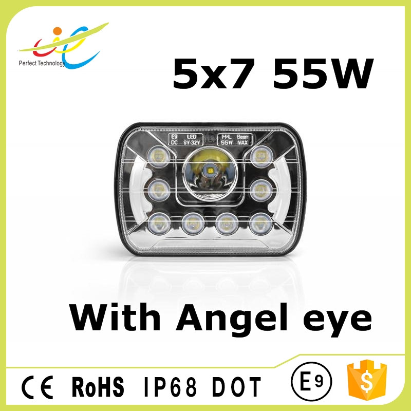 High beam Low beam 7inch 55W motorcycle projector beam headlights h4 high power led driving light