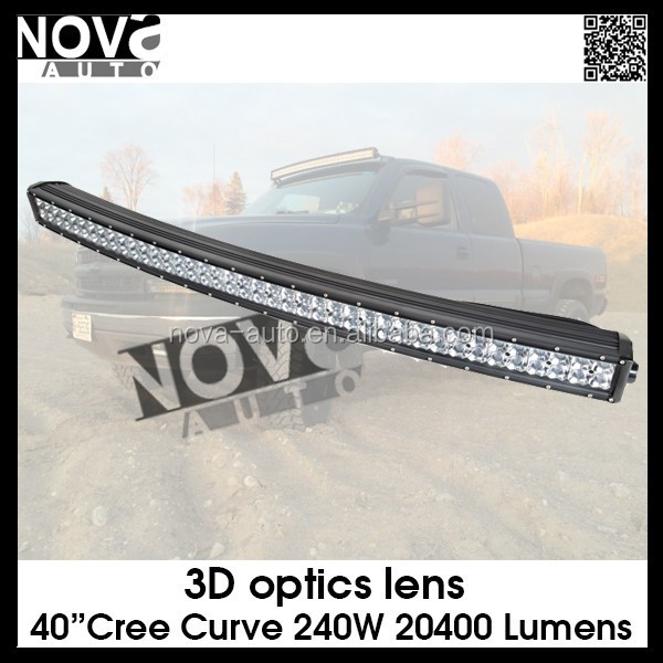 Top Quality 4D Optics 40inch 240W Curved 12v Waterproof Led Light Bar LED Light Bar with Military Breather Design