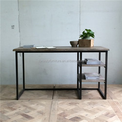Industrial metal frame office desk with wood top