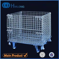 Galvanized mild steel logistic wire cages with wheels