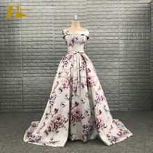 Evening Dresses 2017 Flower Printed Off-Shoulder New Design Real Sample Strapless