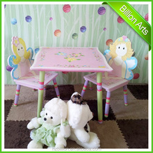 New design pink wooden kids furniture table and 2 chairs cartoon table for playing big lots kids furniture