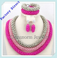 2016 factory direct custom african crystal beads jewelry for wedding nigerian bridal beaded jewelry sets