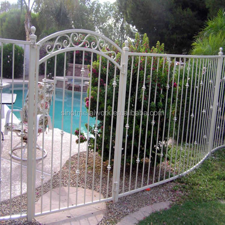 decorative wrought iron swimming pool fence and gate white metal backyard fencing and gate