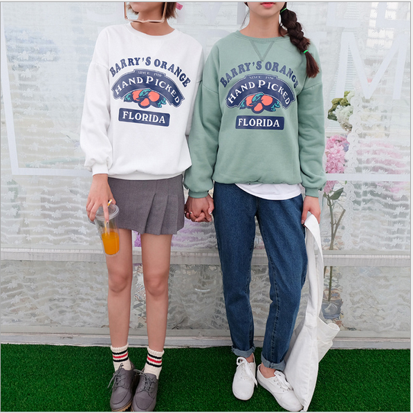 Korean fashionable printed sweet women pullover hoodies