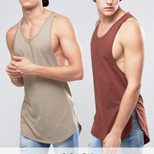 Men's Longline Tank Top Combed Cotton Custom Gym Tank Top Cheap Stringer Singlet