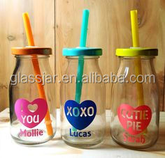 Conversation Heart Glass Drink Bottle With Straw 250 ml