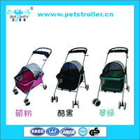 Four wheels fold up oxford pet cat dog stroller with canopy