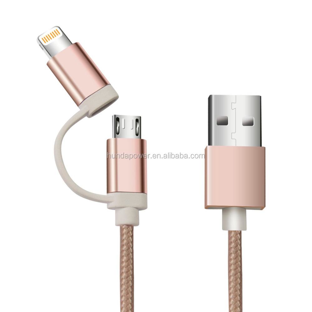 Android Galaxy S7/Edge Rose Gold USB cable, braided metal jacket USB to 8pin for iPhone 6s, for iPad Air 2 mini iPad Pro