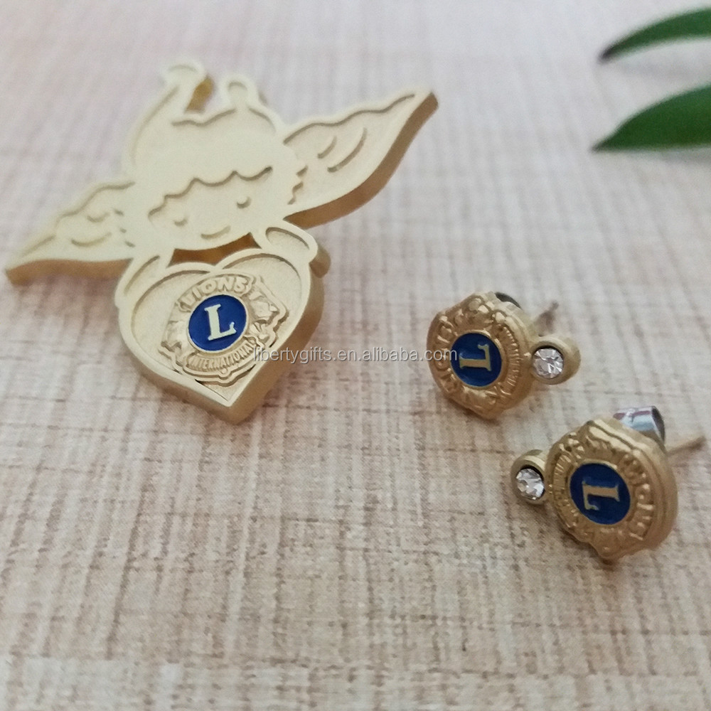 custom gold-filled lapel pin with earrings set