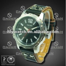 Men Watches Top Brand with Big Face Genuine Leather HK-189