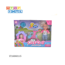 Cute role play games cartoon plastic lovely doll toy for girls