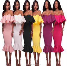 4.9 USD WQ023 Wholesale Fashion high quality women sexy ladies off shoulder long prom party formal dress