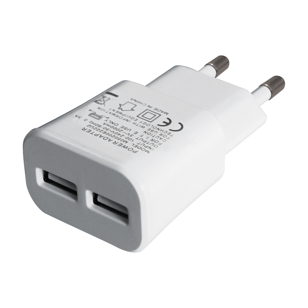 Wholesale White EU/KR Plug 2 Dual Port 5V 2A Micro USB Wall Charger for Samsung with CE GS Certificate