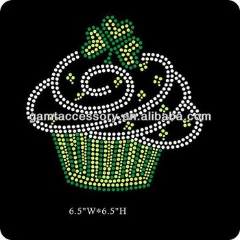 Irish cupcake iron on rhinestones transfer design for T-shirt