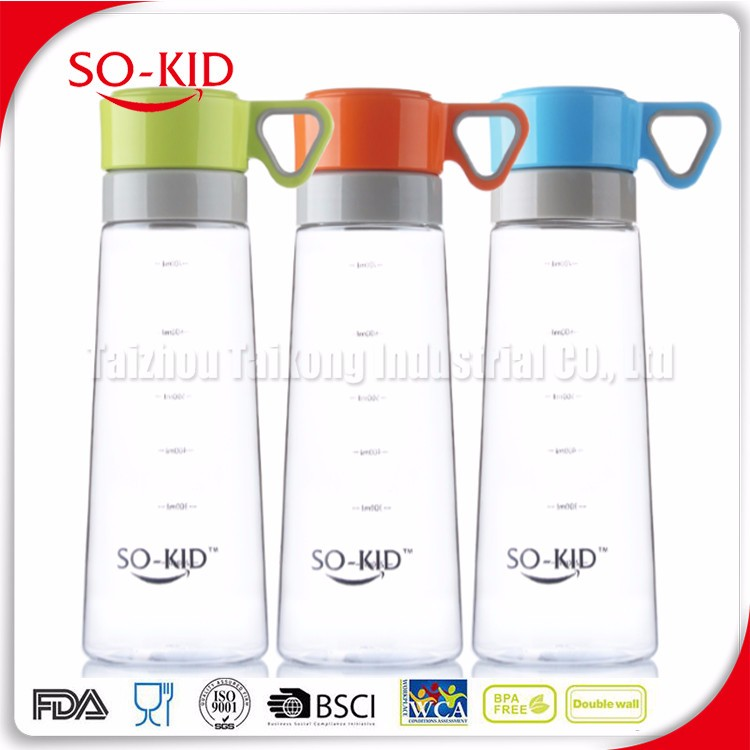 New design double sided triangle shape handle lid filter water bottle