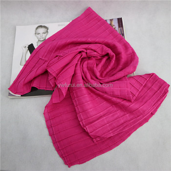 2017 New Style Hot Sale Pleats Hijab Crinkle Scarf Plain Grid Checks Viscose Muslim Scarves Solid Color 180*90CM