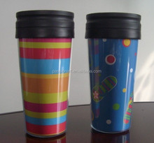 Acrylic Double Walls Plastic Insulated Mug With Paper Insert