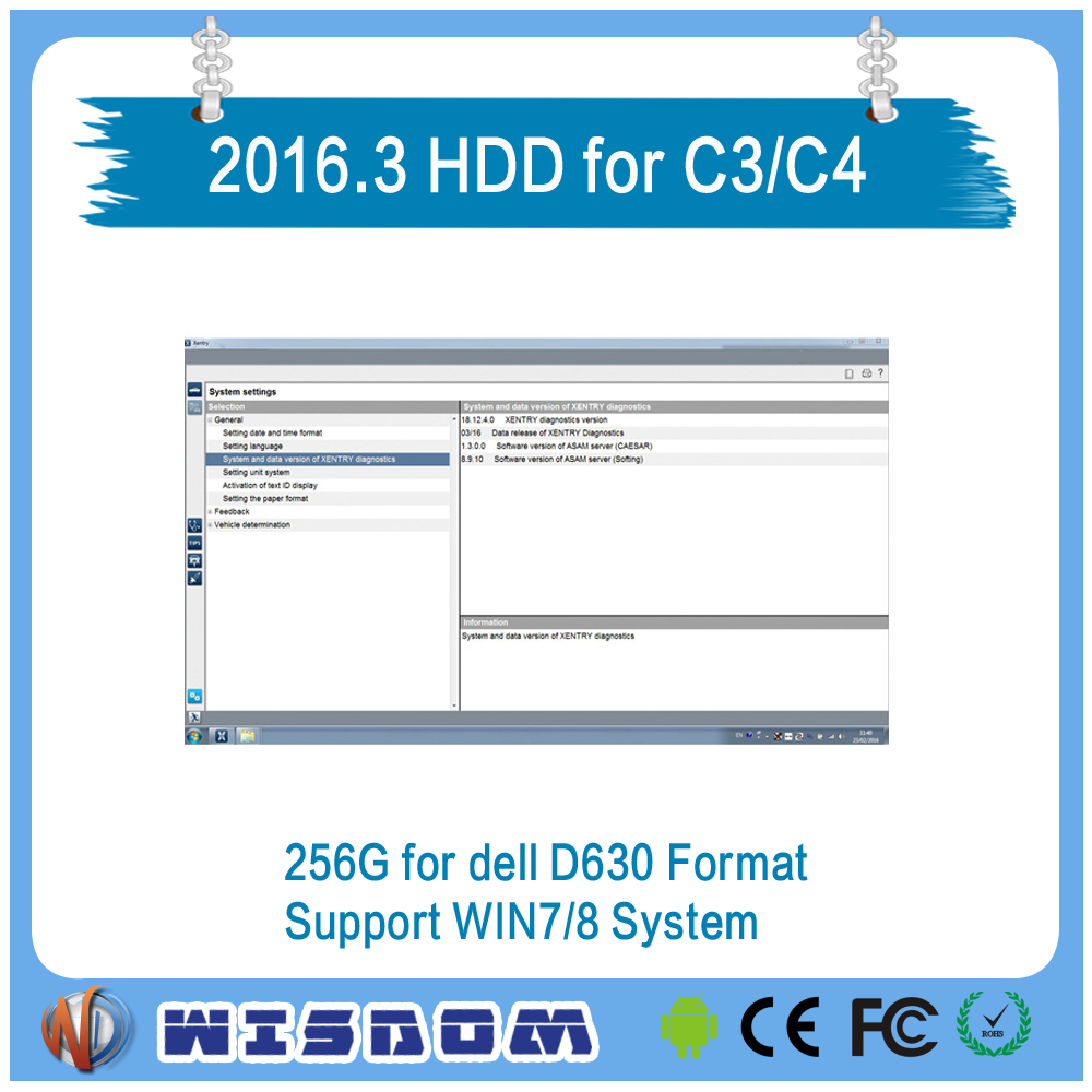 V2016.3 MB STAR C3 C4 Software SSD 256G for D630 Format Support WIN7/8 System