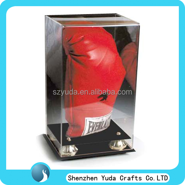 manufacture made display box for sports shops, rectangle shaped clear display boxing glove case