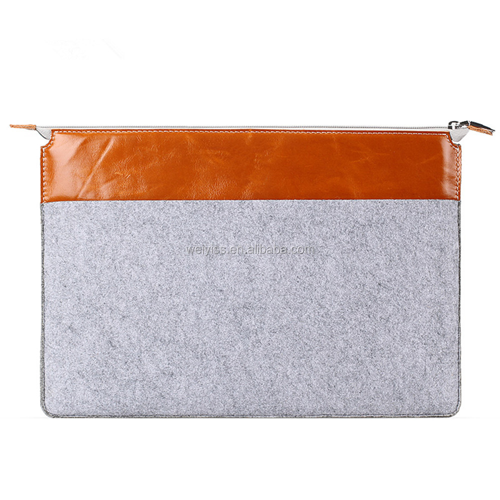 New Design Felt & Leather Sleeve Case for iPad Mini, Leather Cover for iPad Mini