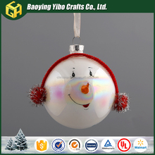 Christmas glass ball with a smiling face headset decoration Hot sell