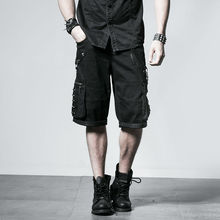 K-192 Punk and Rock black summer men Loose fifth pants with big pockets