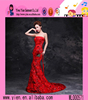 2015 Fashion Long Red Fishtail Evening Dress Backless Floor Length Ladies Sexy Ready Made Evening Dress