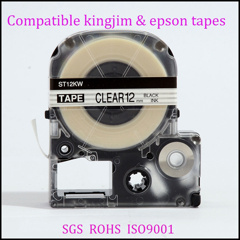 Compatible LC-4WBN 12mm for Epson Label Cartridge Label Maker Tape Black on Clear ST12KW Factory Supply
