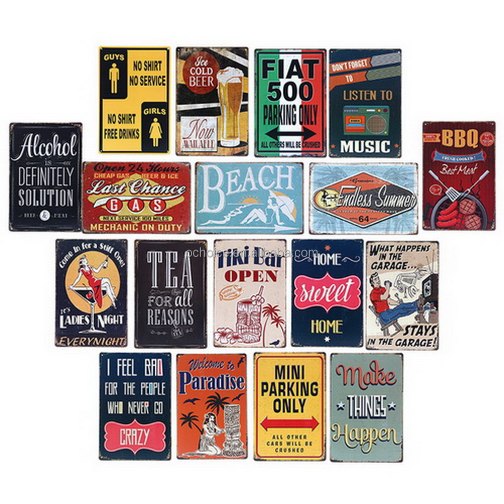 Wholesale Vintage Embossed Tin Signs Custom Blank Printing Retro Vintage Metal Tin Sign