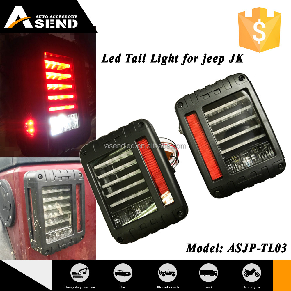 red amber car wrangler led tail light with jeep brake lights