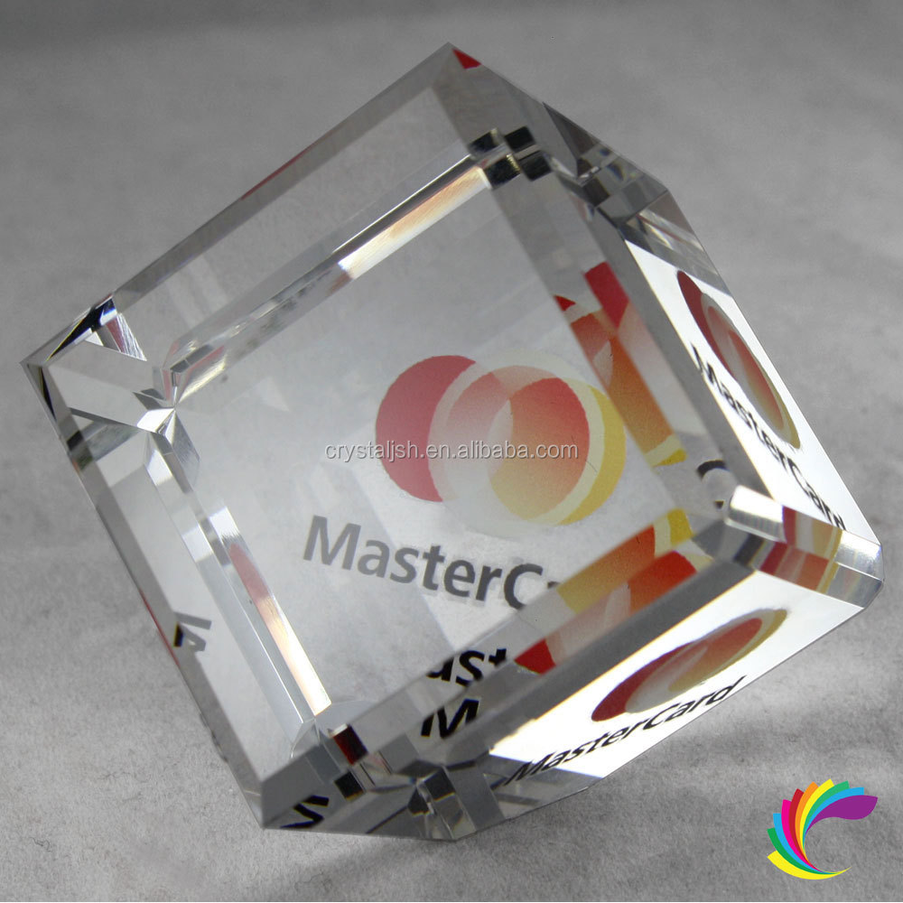 Wholesale Crystal Paperweight,Crystal slant cube crystal business gifts