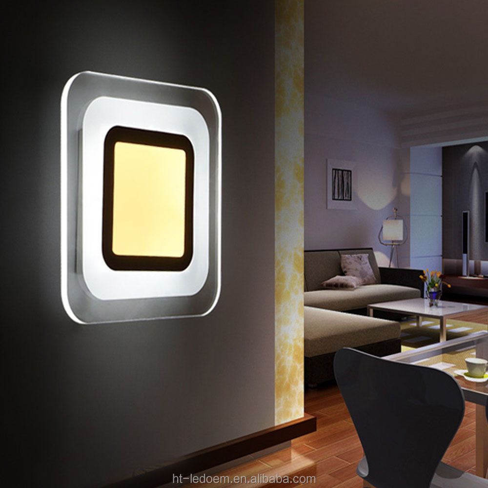Cheap 5W 22*22cm square shape indoor Acrylic led wall lamp
