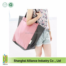Pink Tote style Customized Promotional Cheap Polyester Folding Shopping Bag