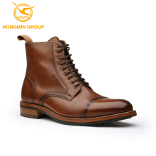 Fashion men leather china oem brand wholesale shoe lace up cow skin men shoes motorcycle leather ankle boot