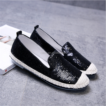 2017 new women shoes flat-bottomed loafers with sequins