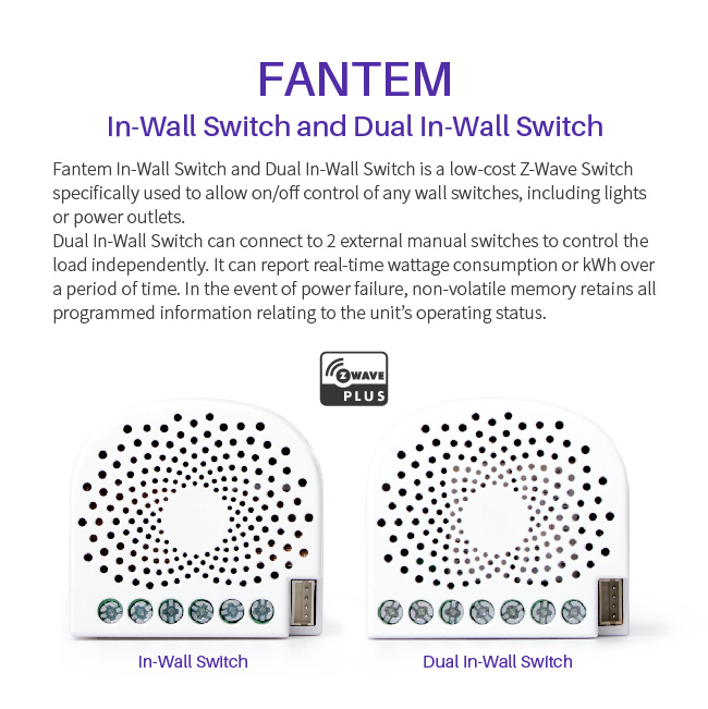 Fantem z-wave CE Rohs approved smart home electric wall switch Work with Amazon Alexa