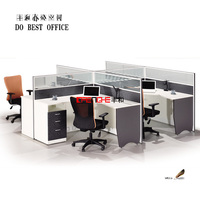 Modern design 4 people cubicle office workstation layout