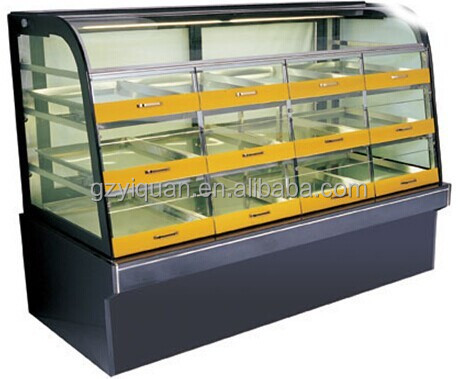glass window refrigerated pastry marble cake showcase with drawer